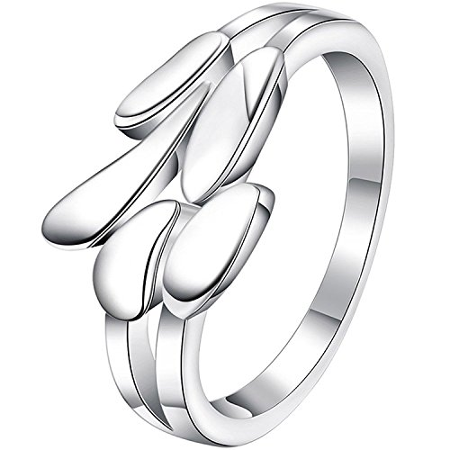 OUBEY Womens 925 Sterling Silver Plated Fashion Angel Wing Feather Love Eternity Ring Wedding Band (Custom Angel Wings Costume)