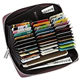 36 Slots Credit Card Wallet Leather RFID Wallet for Women Men, Huge Storage Capacity Genuine Leather Holder Multi Card Organizer Wallet with Zipper (Brown)