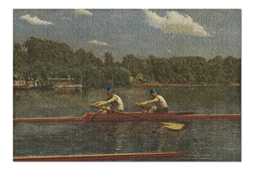 The Biglin Brothers Racing (Artist: Thomas Eakins) c. 1872 - Masterpiece Classic (20x30 Premium 1000 Piece Jigsaw Puzzle, Made in USA!)