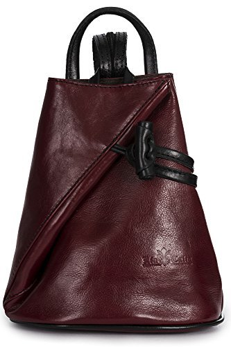LiaTalia Italian Leather Backpack Shoulder Bag with Sling Convertible Strap in Medium/Large Size - Brady [Large - Red BlackT] -