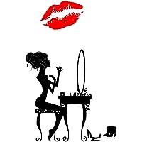 Boodecal Make-up Kadınlar için kırmızı ağız Lip çıkarılabilir duvar çıkartması duvar boyama çıkartma yatak odası 50,8x 83,8cm