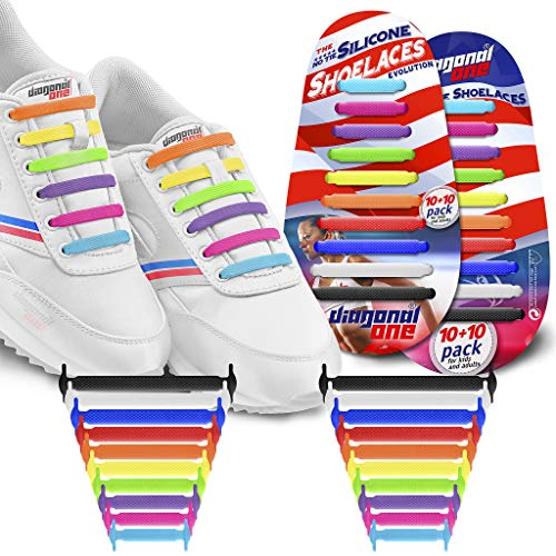 Diagonal One No Tie Shoelaces for Kids & Adults.The Elastic Silicone Shoe Laces to Replace Your Shoe Strings. 20 Slip On Tieless Flat Silicon Sneakers Laces (Multicolor) - Focus Kids Shoes