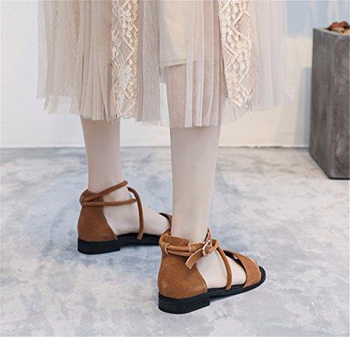 b Plano Verano Tiras Dama Las Moda Vintage transversales Simple Toe de de Zapatos YMFIE Fondo BXH6wWq