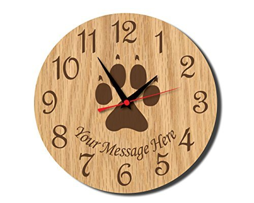 Paw Print Rustic Wooden Wall Clock Decorative Vintage Silent