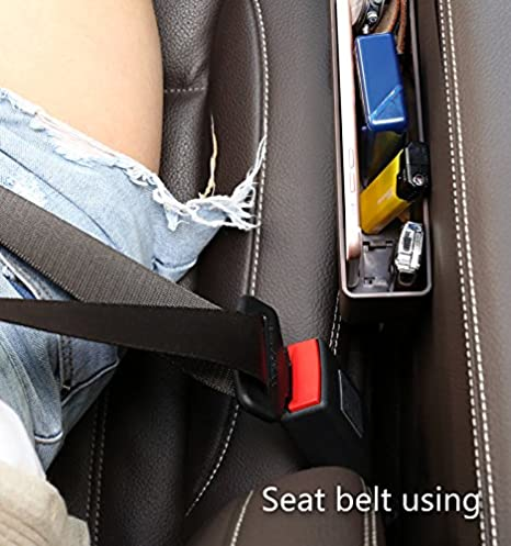 Car Seat Side Pocket,Car Gap Organizer and 2 USB Charging Hub for Cellphones,Keys,Cards,Wallets,Coins 1 Pack(12.2 x 3.6 x 3.5 inches ) Car Gap Filler Premium Console Pocket Organizer