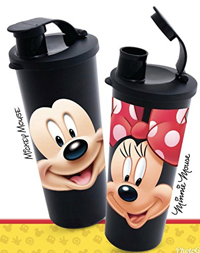 (Tupperware 16 Ounce Tumbler with Flip Top Seal Walt Disney Mickey Mouse and Minnie Mouse Design)