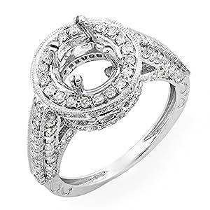 1.10 Carat (Ctw) 14k White Gold Round Diamond Semi Mount Round Cut Diamond for Center Engagement Bridal Ring (No Center Stone) (Size 5)