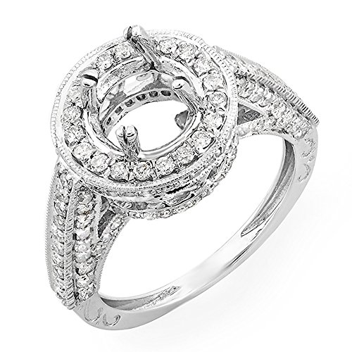 1.10 Carat (Ctw) 14k White Gold Round Diamond Semi Mount Round Cut Diamond for Center Engagement Bridal Ring (No Center Stone) (Size 5)