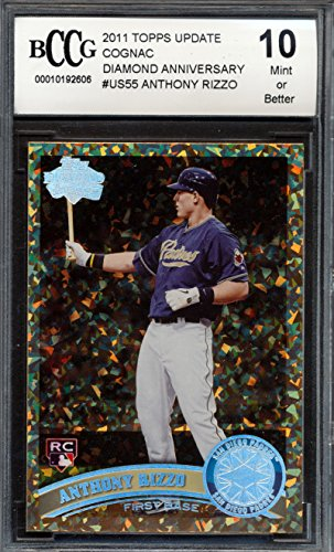 2011 Topps Update Cognac Diamond Anniversary #US55 Anthony Rizzo Rookie Card Graded BCCG 10 (Anthony Rizzo Rookie Card)