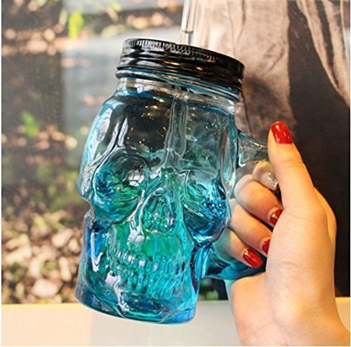 EASYTAR 500 ml Colored Skulls with the Glass Beer Mug Large Beer on Draft a Mason Jar Novelty Heavy Base Glass Skull Face Drinking Mug cup with Glass Handles, Limited Edition Glassware(Blue)