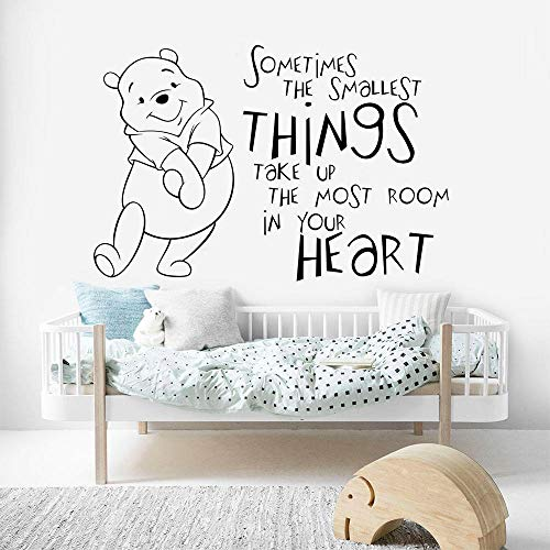 Cute Winnie The Pooh Vinyl Wall Sticker Sometimes The Samllest Thing Quote Wall Decal Kids Room Decor Nursery Wallpaper for Bedroom]()