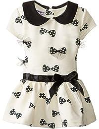Baby Girls' Short Sleeve 3D Bow Drop Waist Knit Dress