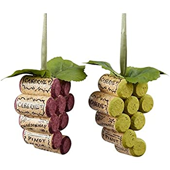 Kurt Adler Wooden Cork Grape Bunch Christmas Tree Ornaments (set of 2)