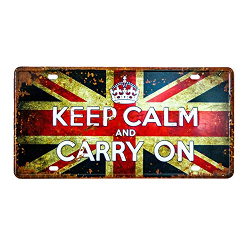 (Ayiguri Vintage Feel Wall Decor Car Vehicle License Plate SPTE Souvenir Tinplate Metal Sign Poster Plaque 12 x 6 Inches (Keep Calm and Carry ON))