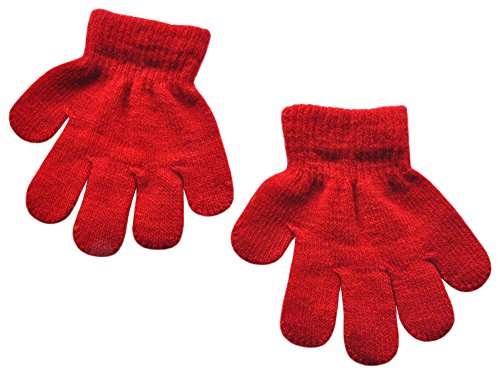 BaiX Toddler Boys and Girls Winter Knitted Writing Gloves, 1-3 Years Old, Red