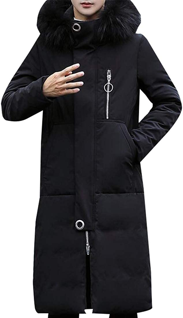 XQS Men Faux Fur Hooded Winter Cotton Long Thick Puffer Jacket Down Coat Overcoat