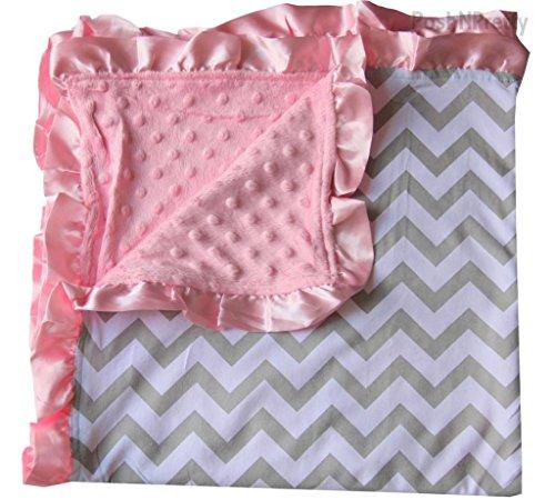 Tiddliwinks Satin Blankets - Soft and Cozy Large Minky blanket - Grey Chevron with pink Satin Trim