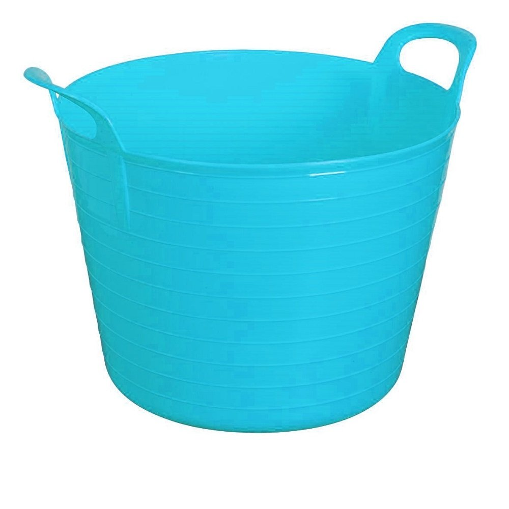 BLUE 42 Litre Large Flexi Tub Garden Home Flexible Colour Rubber Storage Container Bucket Polyethylene Flex Tub - MADE IN U.K. UK
