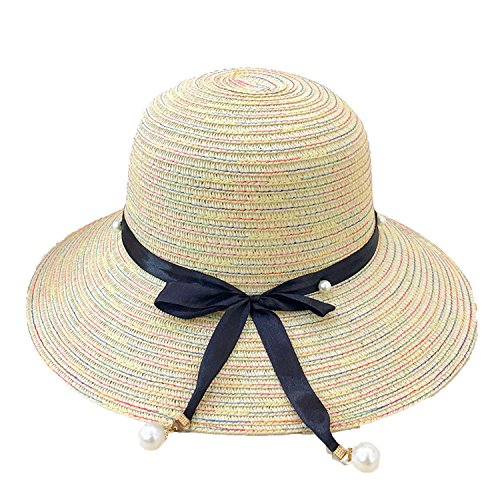 Lagos Rope - Heart .Attack Straw Bow pots Pearl Rope Dome Sunshade Sunscreen Female Hat Manufacturers,Beige