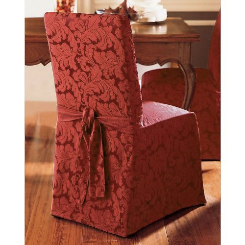 Sure Fit Scroll - Dining Room Chair Slipcover - Burgundy (SF35464) (Slipcover Burgundy)