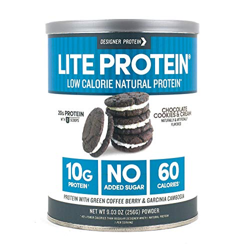 Designer Protein Lite, Chocolate Cookies & Cream, 9.03 Ounce, Low Calorie Protein Powder (High Protein Low Carb Shakes For Weight Loss)