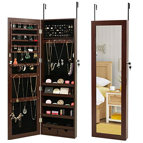 HollyHOME Jewelry Cabinet Lockable Wall Door Mounted Organizer Storage with Mirror Brown (Over Door Jewelry Case)