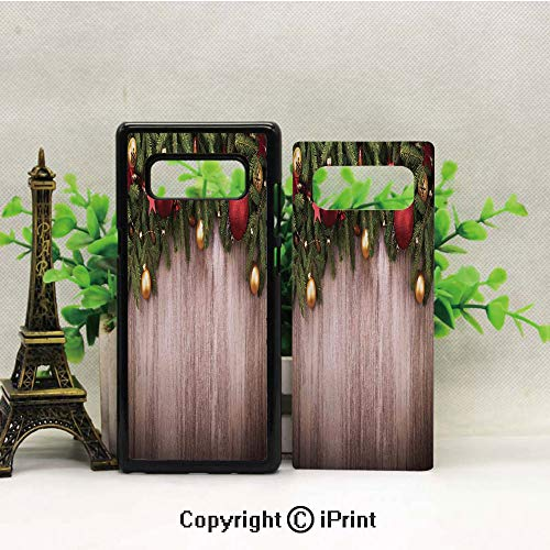 Note 8 Case for Girls,Xmas Ornaments Over Wooden Rustic Board Backdrop with Stars Goodwill Print Galaxy Note 8 Case, Anti Slip Note 8 Case Dust Scratch Shock Resistance Protective Cover for Samsung G