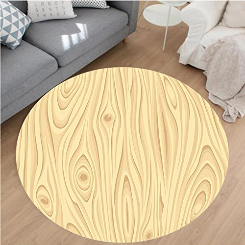 Nalahome Modern Flannel Microfiber Non-Slip Machine Washable Round Area Rug-ure Pattern Grains of Wood Natural Tree Growth Lines of Nature Organic Themed Image Cream area rugs Home Decor-Round 71