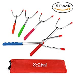 X-Chef Roasting Sticks, Marshmallow Roasting Sticks Hot Dog Forks Extendable 45'' Stainless Steel Telescoping Skewers for Camping Campfire Bonfire Barbecue by X-CHEF