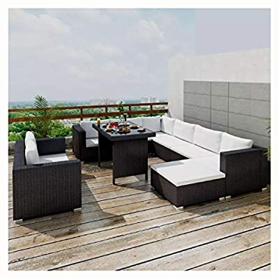 HomyDelight Outdoor Furniture Set, 10 Piece Garden Lounge Set with Cushions Poly Rattan Black
