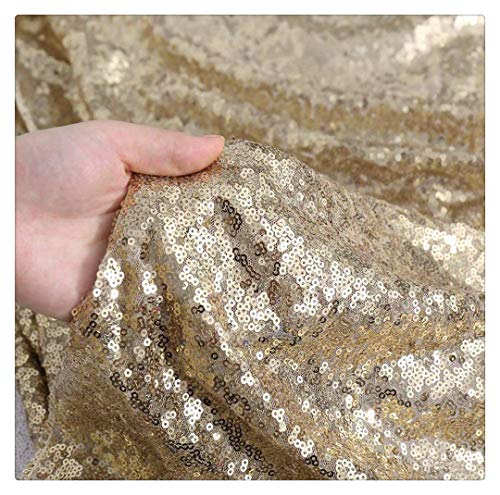 SP Boutique MatteGold Sequin Fabric 1yard Sequin Lines by The Yard Thanksgiving Christmas Halloween -
