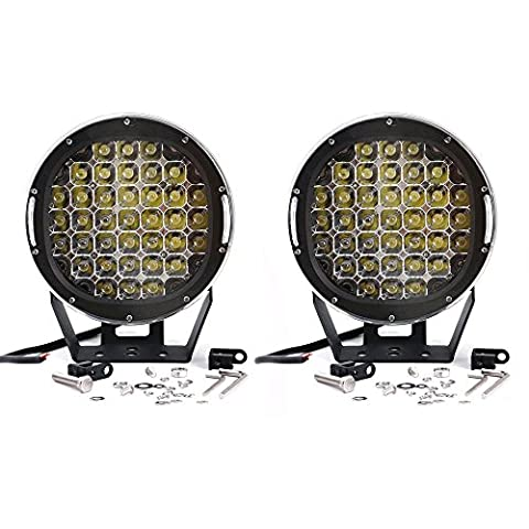 TURBO SII Pair 9 Inch Round 111W Indensity Led Spot Light For Offroad 4wd 4x4 JEEP FORD TOYOTA Pickup Auxliary Front Bumper Light Bar Replacement/Roof Driving Headlight 8000LM(37PCS3W) (Honda 350 Rancher Front Bumper)