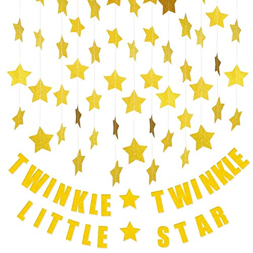 4 Glitter Star Garland&1Twinkle Twinkle Little StarBanner Decoration, Decor for Birthday Party Baby Shower Christmas Weddings Christenings Barbecue Fetes Gard