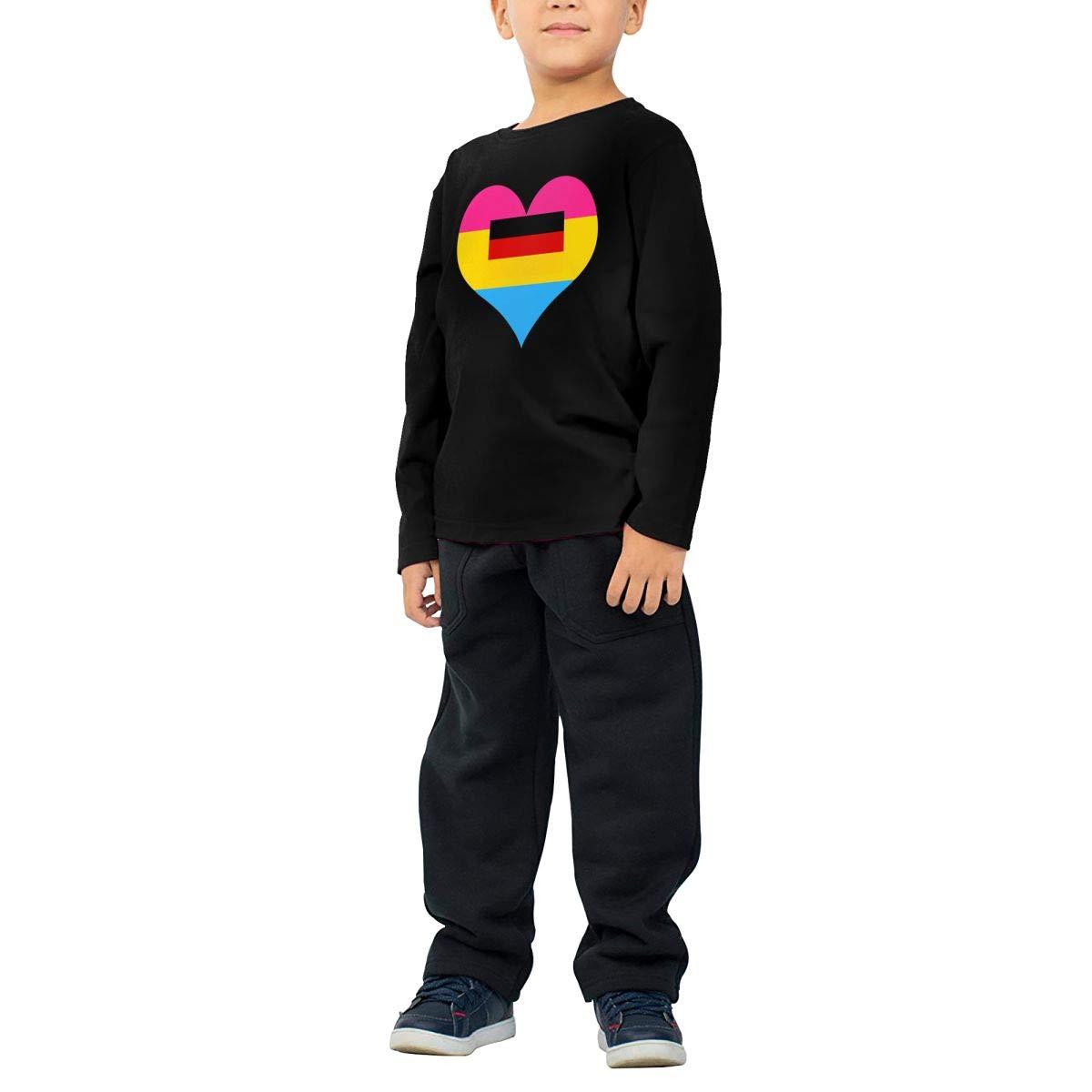 CERTONGCXTS Baby Boys Kids Pansexual Heart German Flag ComfortSoft Long Sleeve Tee