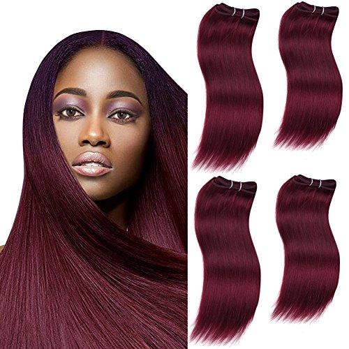 SLEEK 4 Bundles of Long Natural Yaky Weave Hair (BURGUNDY, 16