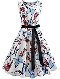 Womens Boat Neck Sash Waist Tie Hepburn Fall Vintage Swing Dress
