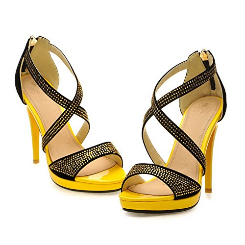 VogueZone009 Womens Open Toe High Heel Platform Stiletto PU Frosted Solid Sandals with Glass Diamond, Yellow, 3.5 UK