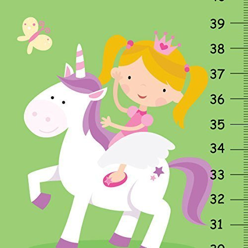 Canvas GROWTH CHART Princess and Castle Girls Bedroom Baby Nursery Wall Art Personalized Kids Growth Chart Height