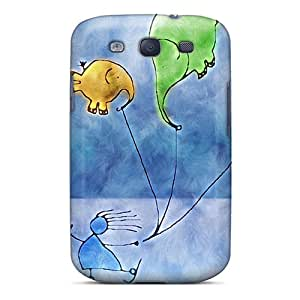MQMshop Premium Protective Hard Case For Galaxy S3- Nice Design - D Graphics Flying Elephants