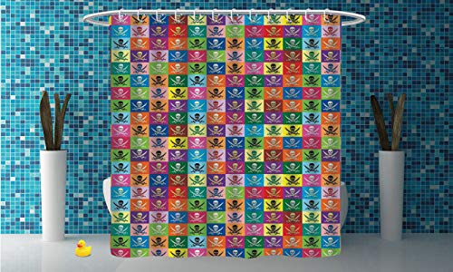 iPrint Mildew-Proof Shower Curtain [ Skulls Decorations,Skull and