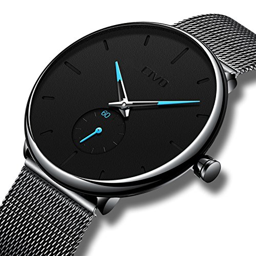 Civo Mens Black Ultra Thin Watch Minimalist Fashion Luxury