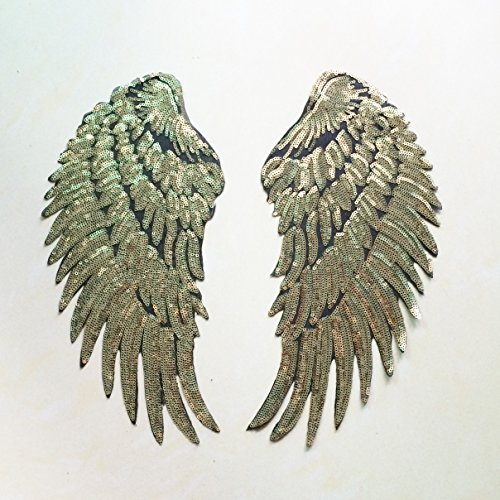 Angle Wings Sequins Braided Iron on Applique Patch Pair (Gold Small)