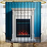 AmaPark Fabric Shower Curtain black electric fireplace with decoration photographed in the interior Water-Repellent Antibacterial and Mildew Resistant