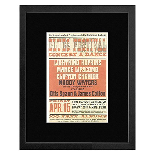 Mini Frame California (Stick It On Your Wall Muddy Waters Lightning Hopkins - Berkeley Blues Festival University Of California Berkeley 1966 Framed Mini Poster - 20x18cm)