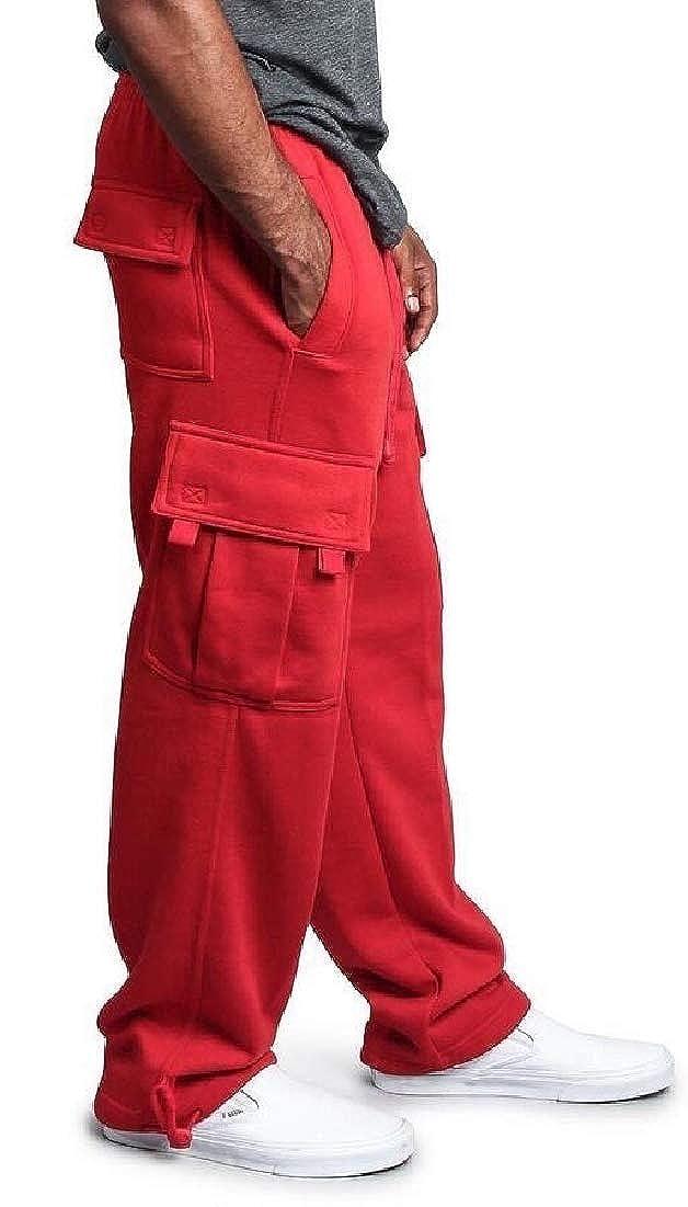 ouxiuli Men Fashion Drawstring Trousers Elastic Waist Straight Multi Pockets Cargo Pants