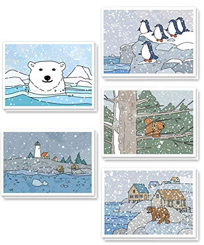 - Cute Christmas Cards Bulk Pack 25, Boxed Winter Holiday Greeting Cards Assorted Set, Wildlife Animals Xmas Paper Stationery, Blank On the Inside with Kraft Envelopes 4 X 6 Inches
