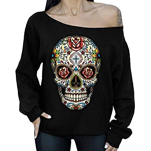 (Halloween Costumes,GREFER Womens Tops Long Sleeve Ghost Print Irregular Sweatshirt Pullover Blouse (XL, P-Black) )