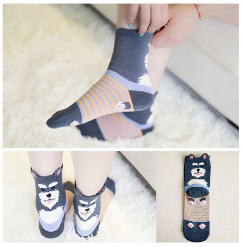 Price comparison product image One Pair Women Fashion Cute Fun Animal 3D Dog Cotton Soft Crew Socks (Blue)