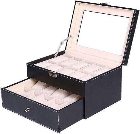 0LL Caja Joyero Caja Almacenamiento para Aretes Pulseras PU Caja para 20 Relojes Exhibición Relojes Hecho a Mano Regalo (Color : A): Amazon.es: Hogar