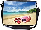 Rikki Knight Pink Sunhat Flip-Flops On Sandy Beach Design Combo Multifunction Messenger Laptop Bag - with Padded Insert for School or Work - Includes Wristlet & Mirror